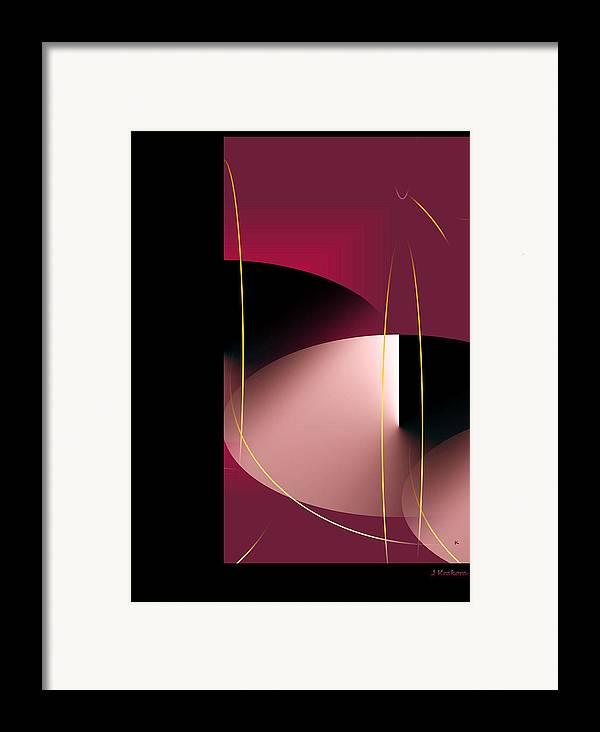 Abstract Digital Art Framed Print featuring the digital art Black Vs White Vs Red by John Krakora
