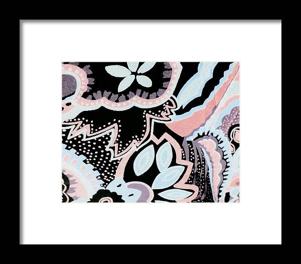 Floral Framed Print featuring the digital art Black White And Pink Allover by Florene Welebny