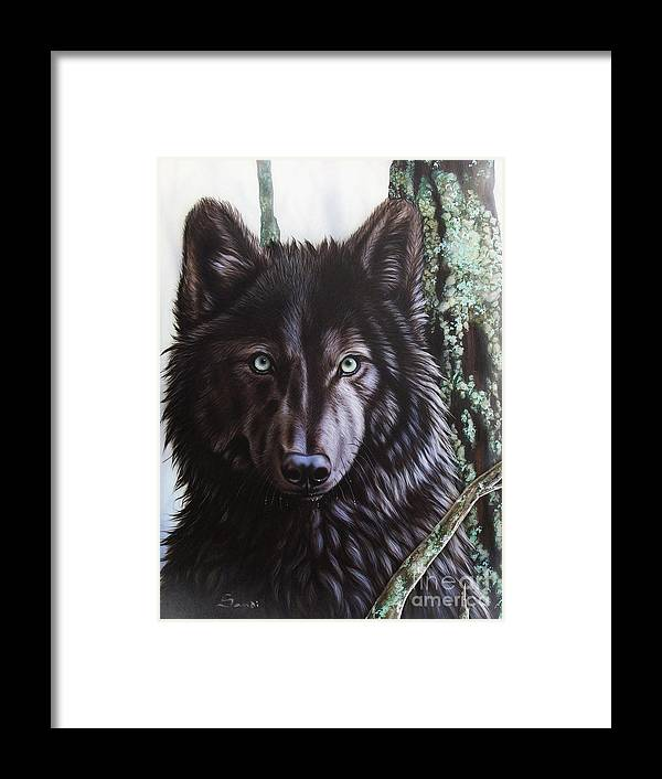 Wolves Framed Print featuring the painting Black Wolf by Sandi Baker