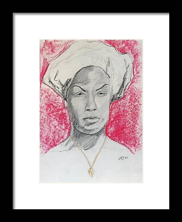 Framed Print featuring the drawing Black Woman With Red Background by Alejandro Lopez-Tasso