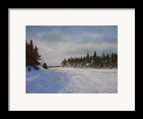 Ski. Snow Framed Print featuring the painting Blackbear Ski Trail by Ken Ahlering