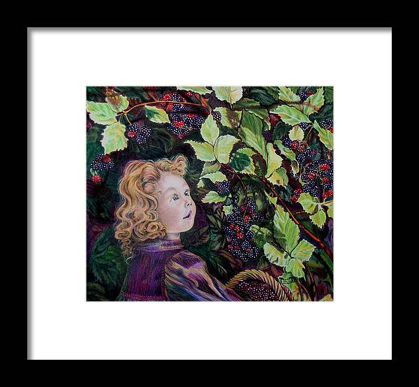 Blackberry Framed Print featuring the drawing Blackberry Elf by Susan Moore