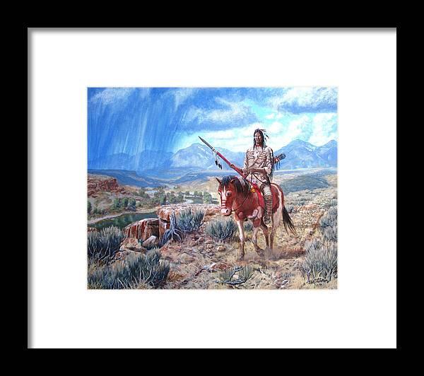 Blackfoot Warrior Framed Print featuring the painting Blackfoot Warrior by Scott Robertson