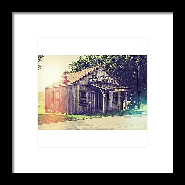 Shop Framed Print featuring the photograph Blacksmith Shop Brazeau by Larry Braun