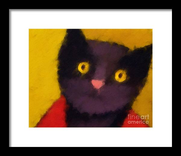 Cats Framed Print featuring the painting Blacky by Lutz Baar
