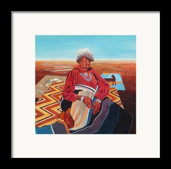 Old Indian Woman Framed Print featuring the painting Blanket Weaver by Don Trout