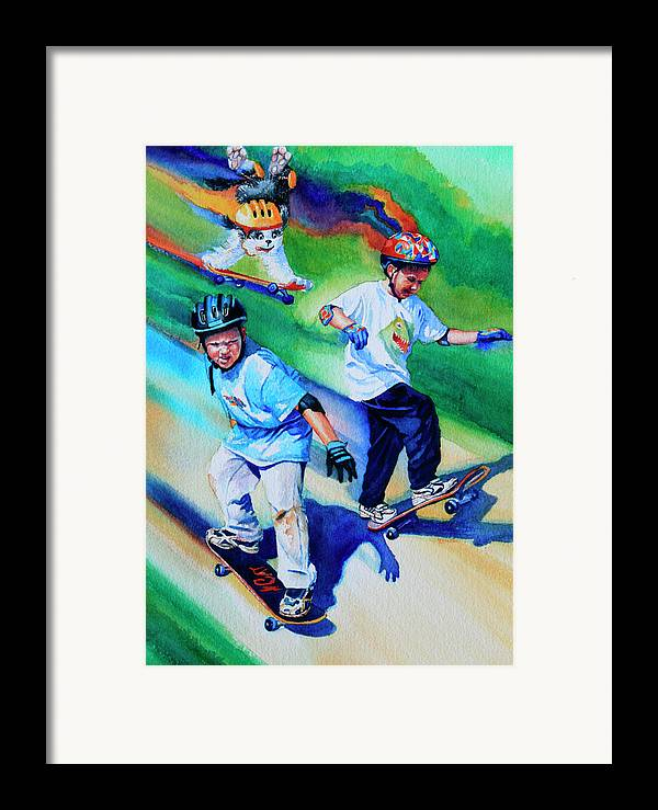 Skateboard Framed Print featuring the painting Blasting Boarders by Hanne Lore Koehler