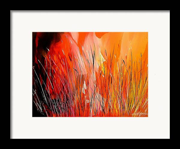 Abstract Framed Print featuring the painting Blaze by Yvette Sikorsky