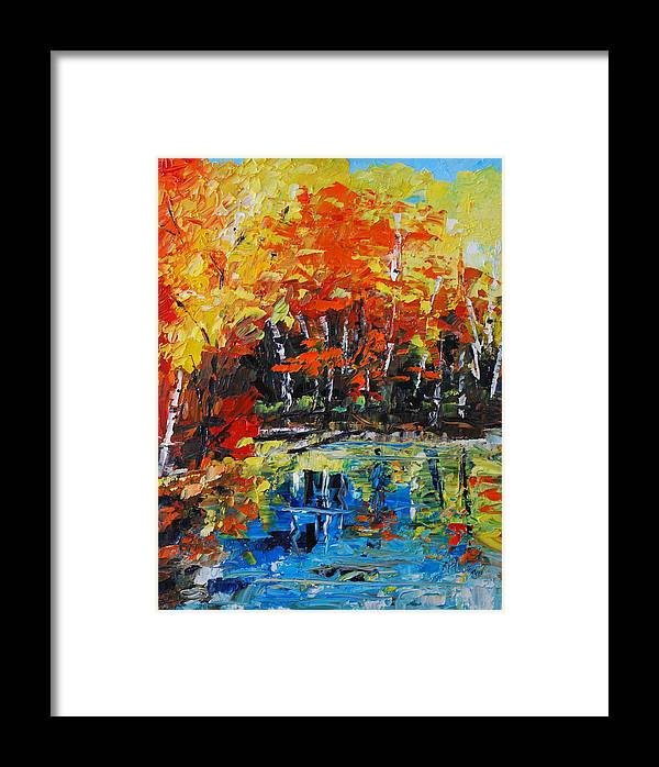 Landscape Framed Print featuring the painting Blazing Reflections by Phil Burton