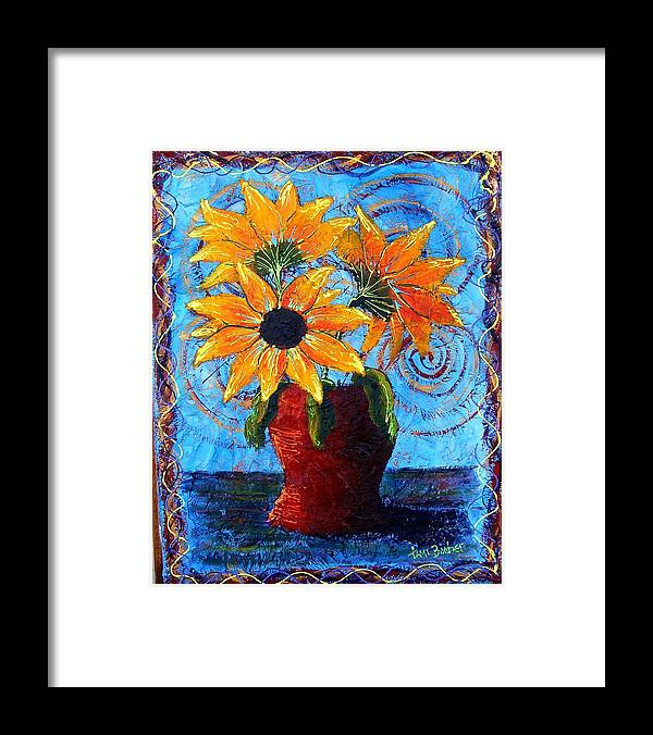 Framed Print featuring the painting Blazing Sunflowers by Tami Booher