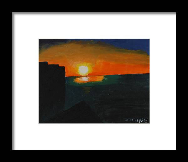 Seascape Framed Print featuring the painting Blazing Sunset by Harris Gulko