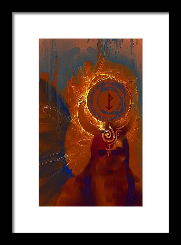 Spiritual Framed Print featuring the digital art Blazzing Wisdom Through Odins Essence by Stephen Lucas