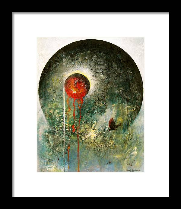 Raven Framed Print featuring the painting Bleak December by Sandy Applegate