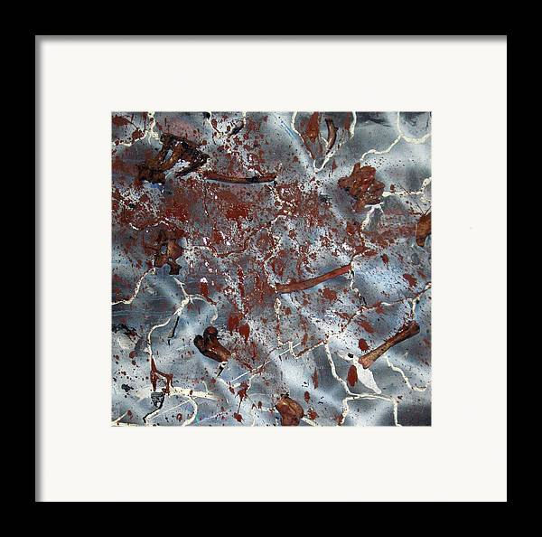 Abstract Framed Print featuring the painting Bleeding Bones by Leigh Odom