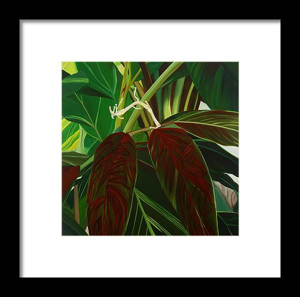 Floral Framed Print featuring the painting Bleeding Heart by Sunhee Kim Jung