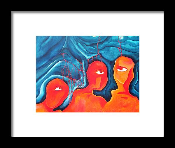 Abstract Eyes People Blood Framed Print featuring the painting Bleeding Thoughts by Veronica Jackson