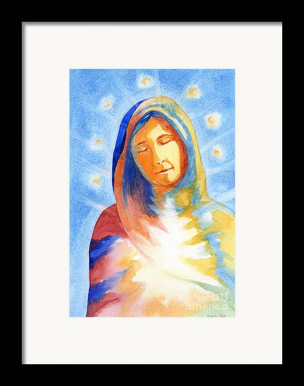Divine Framed Print featuring the mixed media Blessed Mother by Juanita Yoder