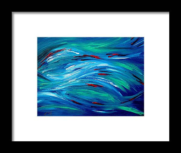 Fish Painting Blue Framed Print featuring the painting Blessings by Viviana Puello Villa