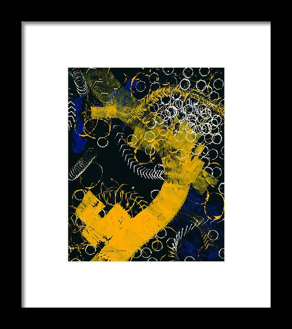 Abstract Framed Print featuring the painting Bleu Et Jaune 1 by Dominique Boutaud