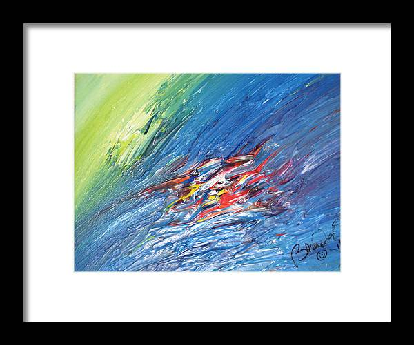Abstract Framed Print featuring the painting Bliss - E by Brenda Basham Dothage