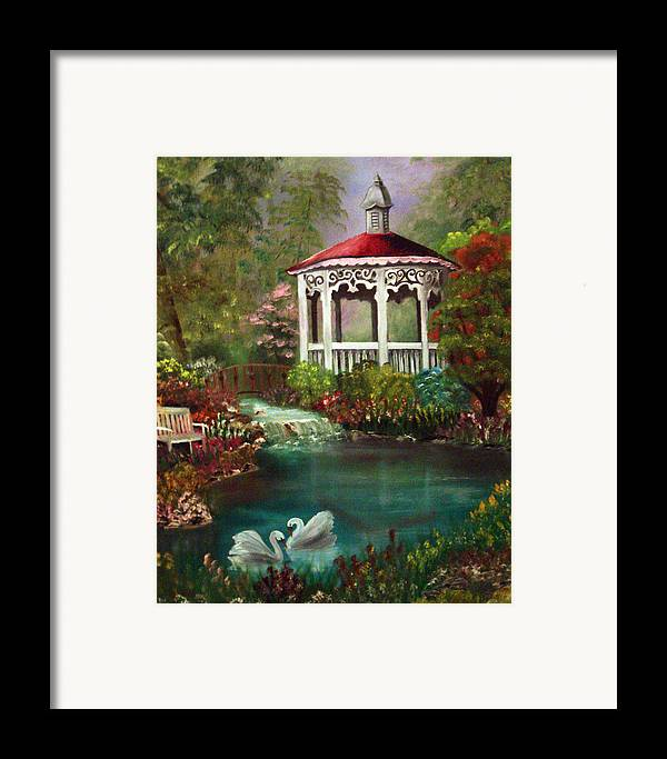 Gazebo Framed Print featuring the painting Blissful Day by Darlene Green