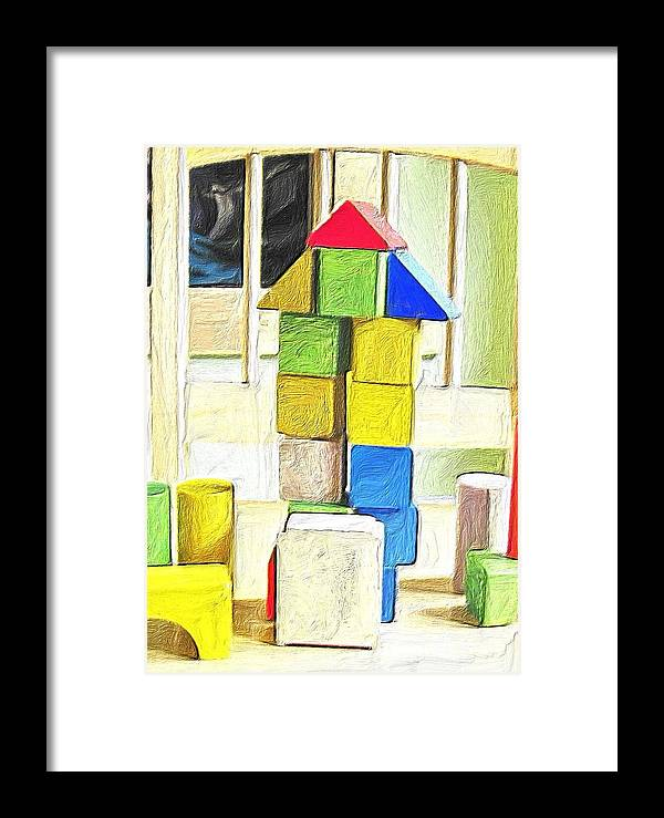 Toy Framed Print featuring the painting Blocks At Night by Carla G Art