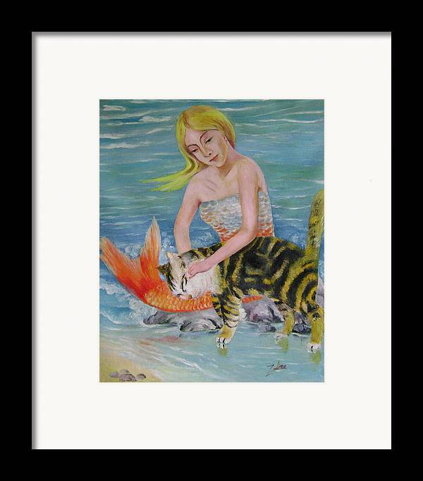 Surrealist Framed Print featuring the painting Blond Mermaid And Cat by Lian Zhen