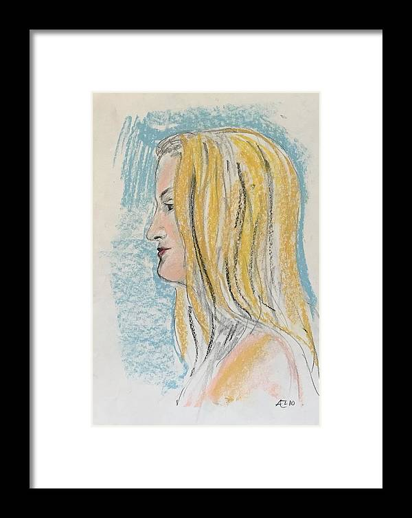 Framed Print featuring the painting Blonde With Long Hair by Alejandro Lopez-Tasso