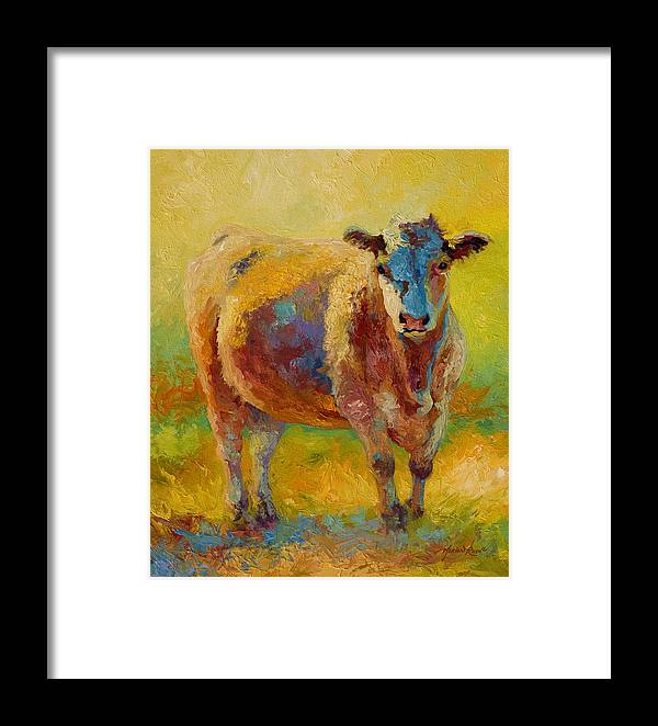 Western Framed Print featuring the painting Blondie - Cow by Marion Rose