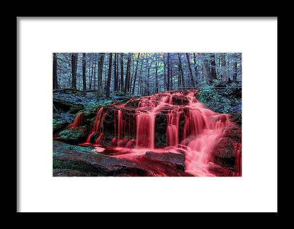 Tucker Brook Falls Milford Nh New Hampshire Newengland U.s.a. Usa England Outside Outdoors Brian Hale Brianhalephoto Long Exposure Longexposure Water Fall Spring Summer Waterfalls River Nature Outside Natural Outdoors Natural Trees Forest Woods Brush Bushes Ir Infrared Infra Red Blood Nightmare Framed Print featuring the photograph Blood Falls 1 by Brian Hale