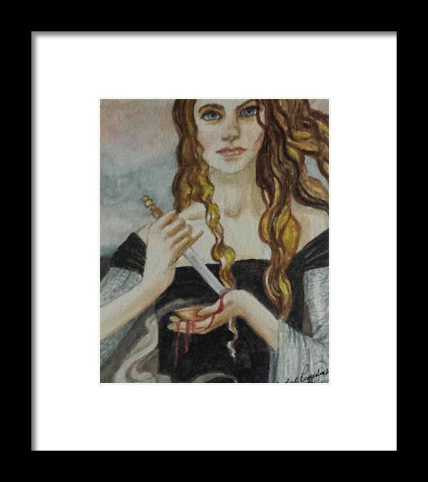 Woman With Knife Framed Print featuring the painting Blood Magic by Judy Riggenbach