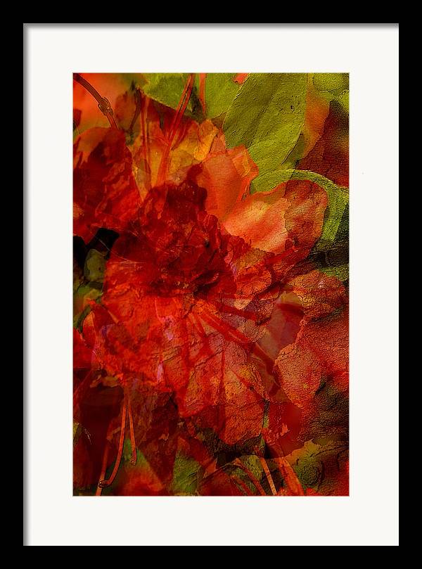 Abstract Framed Print featuring the digital art Blood Rose by Tom Romeo