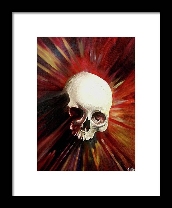 Skull Framed Print featuring the painting Blood Skull by Todo Brennan
