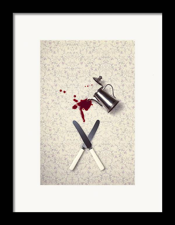 Knife Framed Print featuring the photograph Bloody Dining Table by Joana Kruse