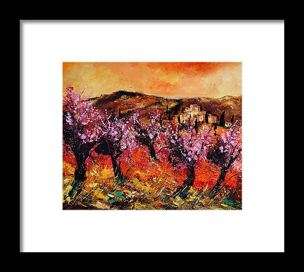 Provence Cherrytree Summer Spring Framed Print featuring the painting Blooming Cherry Trees by Pol Ledent