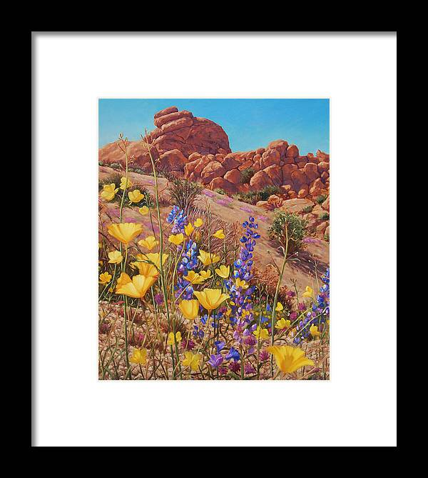 Desert Framed Print featuring the painting Blooming Desert by Johanna Girard
