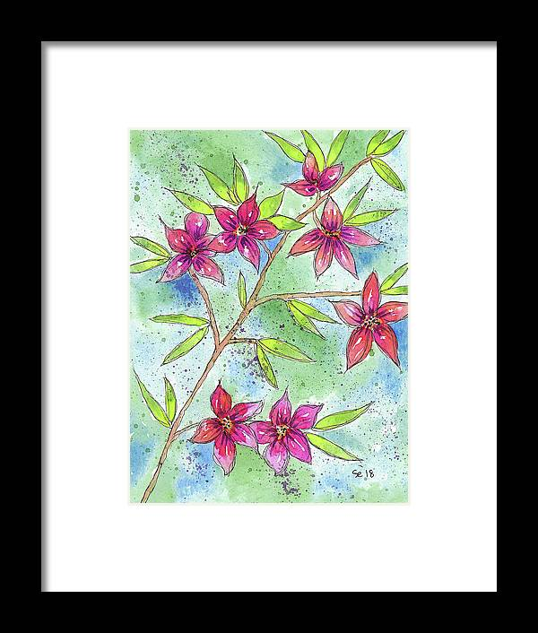 Watercolor And Ink Framed Print featuring the painting Blooming Flowers by Susan Campbell