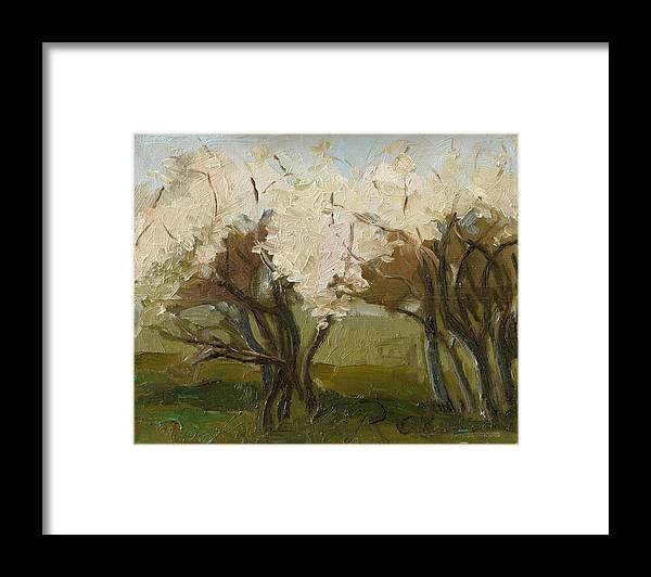 Landscape Green Brown White Trees Spring Prime Bloom Flwering Blow Framed Print featuring the painting Blooming Garden by Raimonda Jatkeviciute-Kasparaviciene