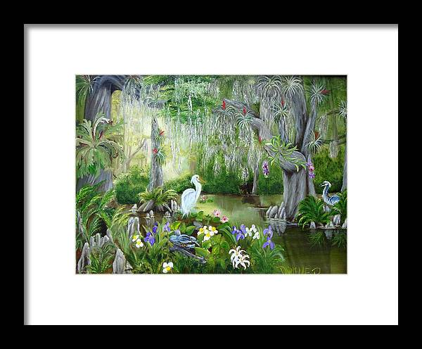 Florida Framed Print featuring the painting Blooming Swamp by Darlene Green