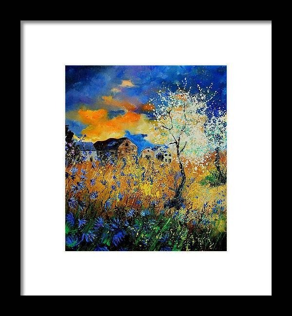 Poppies Framed Print featuring the painting Blooming trees by Pol Ledent