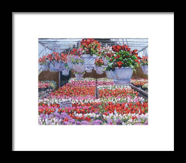 Greenhouse Garden Framed Print featuring the painting Blooms Ablaze by L Diane Johnson
