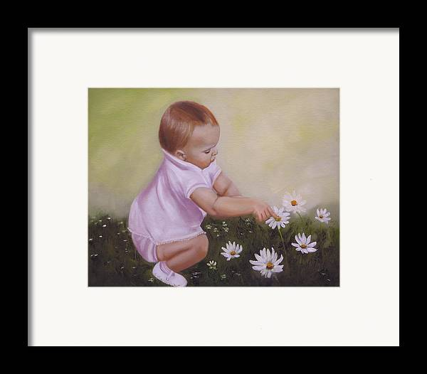 Baby Framed Print featuring the painting Blossom Among The Flowers by Joni McPherson