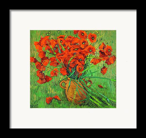 Blossoming Framed Print featuring the painting Blossoming Branch In A Glass by Vitali Komarov