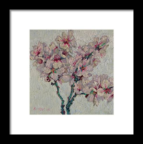 Blossoming Framed Print featuring the painting Blossoming Peaches Branch by Vitali Komarov