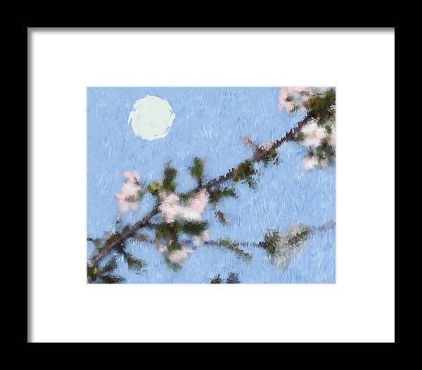 Apple Framed Print featuring the digital art Blossoms In Moonlight by Robert Bissett
