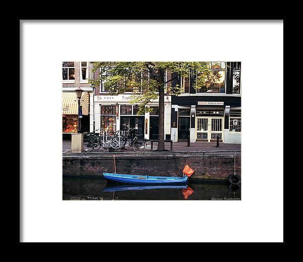 Amsterdam Framed Print featuring the photograph Blu Boat by Lawrence Costales