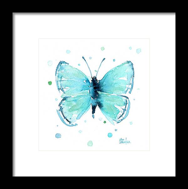 Watercolor Framed Print featuring the painting Blue Abstract Butterfly by Olga Shvartsur