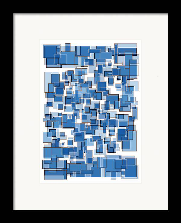 Frank Tschakert Framed Print featuring the painting Blue Abstract Patches by Frank Tschakert