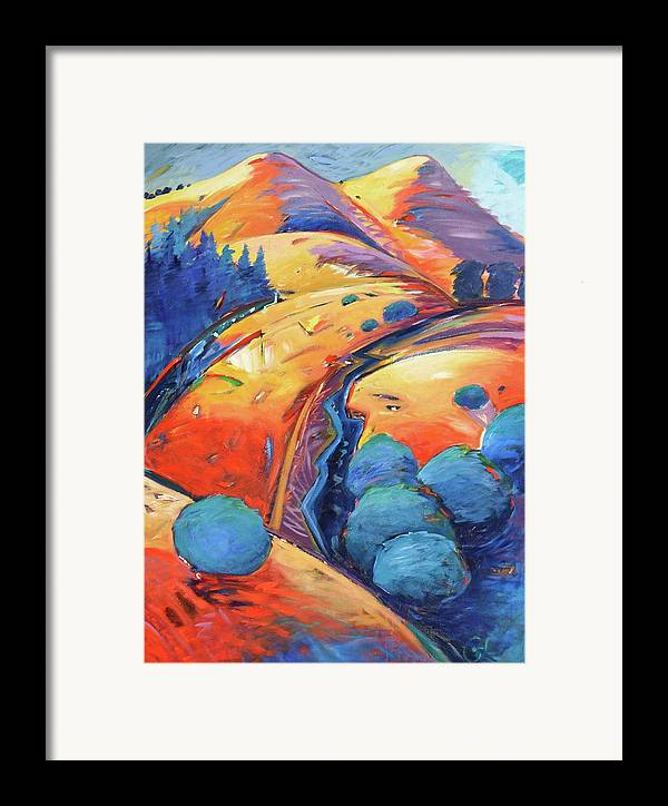 Hills Framed Print featuring the painting Blue And Gold by Gary Coleman