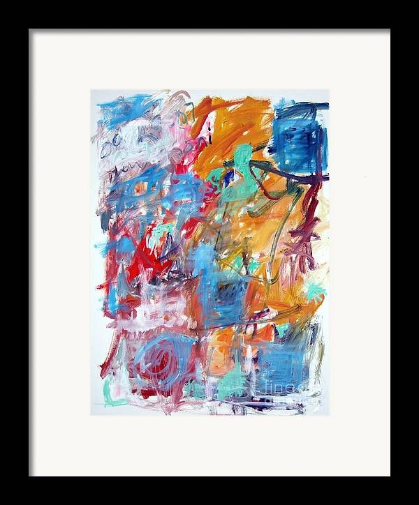 Abstract Framed Print featuring the painting Blue And Orange Abstract by Michael Henderson